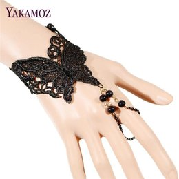 Wholesale Hollow Butterfly Charms - Wholesale- Vintage Sexy Hollow Lace Butterfly Shaped One Direction Bracelet Fashion New Arrival Bracelet & Bangles for Women Fine Jewelry