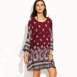 Wholesale Woman Tribal Shorts - Women Printed Dress Floral Printed O-Neck Casual Party Vintage Dress Long Sleeve Tribal Print Straight Short Dresses