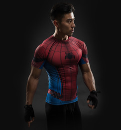 Wholesale Tight Long Red - Spider-Man 3D Print T-Shirt Sleeve Long Sleeve Shirt Men's Short Sleeve Top Black Compression Tight Clothing Red Super Hero Male 2017 Spring