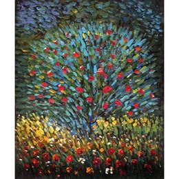 Aceite de lona de jardín online-Gustav Klimt Garden Arts Apple Tree pintura al óleo lienzo pintado a mano decoración casera