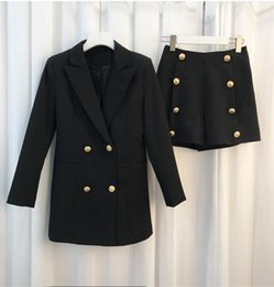 Wholesale Dress Blazer Set - New with label and tag womens ladies females B brand metal buckles buttons two pieces set jackert blazer shorts pant suit free shipping