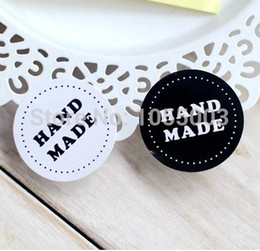 Wholesale Making Sticker Labels - Wholesale- 1 lot = 120pcs DIY Scrapbooking Paper Labels Stickers HAND MADE black and white Seals Sticker 1 lot = 15 sheet = 120pcs