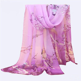 Wholesale Purple Map - The new silk chiffon long scarf magpies Primula map lady small scarf