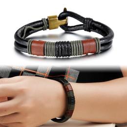 Wholesale Braided Black Belt Men - hot sale jewelry fashion Retro vintage copper alloy buckle braided genuine leather belt bracelet for men