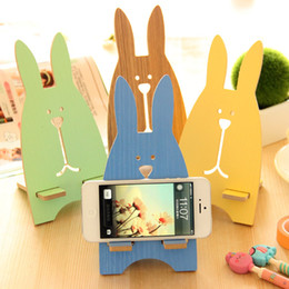 Wholesale Cell Phone Decorations Wholesale - Funny Fashion Cute Multicolor Rabbit Cell Phone Holder Wood Support Stand Desktop Decoration DIY mobilephone Holder