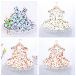 Wholesale Wholesale Sleeveless Toddler Cotton Dresses - Summer Toddler Baby Girls Dress Floral Printed Kids Tutu Dress Sleeveless Princess Dress Girls Clothes free shipping