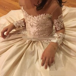 Wholesale Pageant Gowns For Sell - Lace Applique Flower Girls Dresses For Wedding Sheer Neck Bow 2017 Beads Long Sleeve Flower Girl Dress Best Selling Birthday Pageant Dresses
