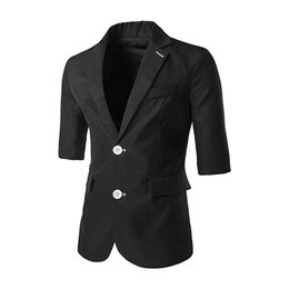 Wholesale three quarter sleeve suit jacket - Wholesale- New list Spring Three Quarter Mens Suit Blazers Slim fit Two Buttons Coat Jackets Fashion Male Blazers Black Light Blue Navy