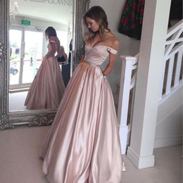 Wholesale Blush Prom Homecoming Dresses - A-Line Off-Shoulder Prom Dress Ball Gown Elegant Blush Satin Evening Dresses Beaded Peplum Floor Length Zipper Back Homecoming Dress