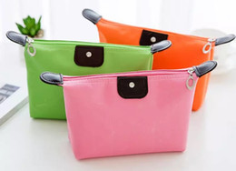 Wholesale Solid Color Clutch Bags - 2017 Candy color Travel Makeup Bags Women's Lady Cosmetic Bag Pouch Clutch Handbag Hanging Jewelry Casual Purse Free shipping
