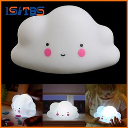 Wholesale Lovely Animal Card - Lovely Cloud Smile Face Mini Night Light Children Bedroom LED Art Deco Lamp Bulb Decor New 2017