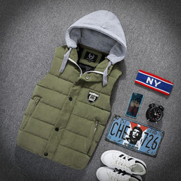 Wholesale men s down vest jackets - Wholesale- New Men's Autumn winter new cotton vest Fashionable casual jacket waistcoat vest thicker Silm Fit Lovers Vests Overcoat Vest