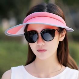 cappelli della visiera del sole delle signore all'ingrosso Sconti All'ingrosso 2017 Nuovo cappello pieghevole Lady Hat Estate Vuota viaggio lungo Uv Sun Hat Donne adulte casuali Hollow Hats per le donne Visiere per gli uomini
