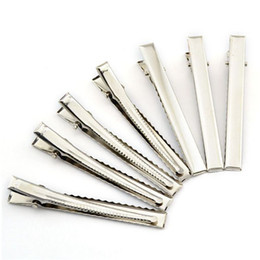 Wholesale Metal Alligator Hair Clips Wholesale - Time-limited New Barrettes 100pcs 40mm Diy Silver Flat Metal Single Prong Alligator Hair Clips Barrette for Bows Hairpins