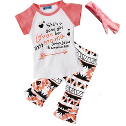 Wholesale Kids Raglan Wholesale - Summer Girls Clothing Set Letter Arrow Printed Short Sleeve Ruffle Short Pants 3pcs Toddler Outfit Raglan Kids Clothing