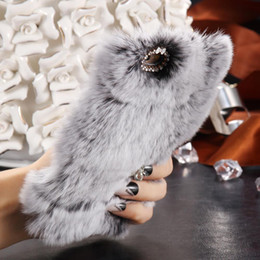 Wholesale Case Iphone C Cute - fifor iphone7 7 Plus  6S Plus Cute Furry Cover Fashion Rabbit Hair Crystal Diamond Case For samsung s6 s6edge s7 s7 edge Slim Warm Fluffy C