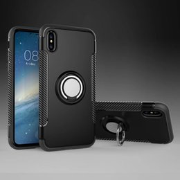 Wholesale Shock Proof Pc Case - Hybrid TPU+PC Armor Case Shock-Proof Cases 360 Ring Stand Holder Magnetic Back Cover For iPhone 7 6S Plus 8 Plus iphone X Samsung S8 S7 Edge