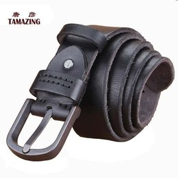 Wholesale Narrow Trousers - Wholesale- Male pin buckle strap 100% genuine leather vintage casual all-match denim female waist of trousers belt