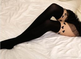 Wholesale Wholesale Nylon Socks For Girls - Wholesale- Lovely Heart Pattern False High Stocking Pantyhose For Women Sexy Black Fancy Tights For Girls Wholesale 2015