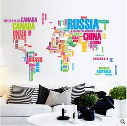 Wholesale Educational Wall Stickers - Wholesale Letter World Maps Wall Stickers Children's Learning and Educational Toys Hot Home Decoration Wall Stickers Free Shipping