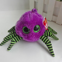 Wholesale Spider Plush Halloween - New Ty Halloweenie Beanies Plush Toy Crawler Purple Spider Spidey Black Spider Key Chain Kids Toy Halloween Gift Hotsale