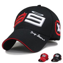 Wholesale Red Logs - 2016 Racing Cap F1 MOTO GP Jorge Lorenzo 99 Cap Baseball Cap Motorcycle gorra Sport Hat Racing Hats Embroidery Log free shipping