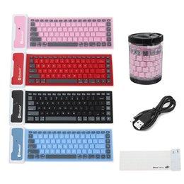 Wholesale Mini Soft Keyboard - Waterproof Foldable Silicone Bluetooth Keyboard Soft Silent Flexible Folding Mini Bluetooth 3.0 Keyboard for PC Tablet