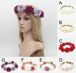 Wholesale Making Headbands - Hand-made Flowers Headdress Flower Garlands Fashion Floral Headdress Girl Garland Wedding princess headwear Children New Product