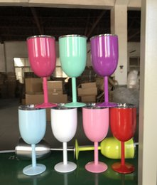 Wholesale Clamp Wall - 2017 Hot Sale 10 oz Stainless Steel Wine Glass Double Wall Insulated Metal Goblet With Lid Rambler Colster Tumbler Red Wine Cup