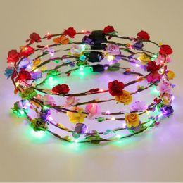 Wholesale hawaii lei - Flashing LED Tiara Headbands Boho Flowers Hairband Hawaii lei Headwear Glowing Head Wreaths for Girls Women Party Decor