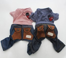 Wholesale Denim Thanksgiving Shirt - Pet Dog Dress Jumpsuit Shirt Denim Pockets Cat Puppy Vest Pants pet clother for summer New Arrival
