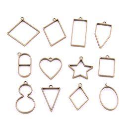 Wholesale Silver Bezel Blanks - Sweet Bell 20pcs mix heart star oval rectangle triangle charm Hollow glue blank pendant tray bezel charms DIY Handmade H3007