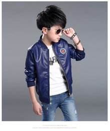 Wholesale Leather Jackets For Kids - kids tops PU fleece Leather Children Jacket for Baby Boys black cool Outerwear Children PU Leather Coat