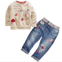 Wholesale Colour Jeans - Wholesale- DT0194 new fashion children spring & autumn clothing sets for girls cartoon long-sleeved sweater + jeans suit sets kids costume