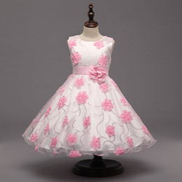 Wholesale Painting Evening Dresses - 2017 Children Dresses Birthday Evening Puff Paint Skirt Princess Dress Fashion Embroidery Flower Children's Skirt