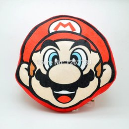Wholesale Super Mario 23cm - Wholesale- Free Shipping New Super Mario Bros Mario Cushion Plush Bolster Stuffed Toy 23cm Great for Gift