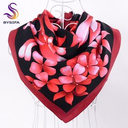 Wholesale Turkey Scarfs - Wholesale- [BYSIFA]Ladies Red Black Twill Square Scarves Autumn Winter Turkey Women Head Scarves 90*90cm Female Floral Hijab Scarves Stoles