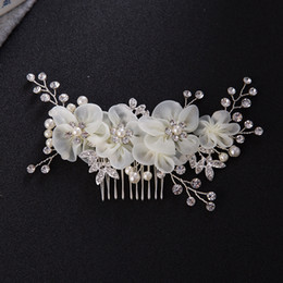 Wholesale Rhinestone Pearl Hair Piece - Handmade Women Hair Accessories Flower Hair Piece Rhinestone Hair Comb with Pearl Fairy Women Jewelry High Quality