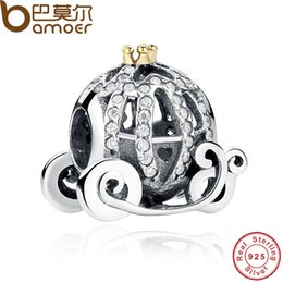 Wholesale Pandora Pumpkin Bead - 100% 925 Sterling Silver Pandora Style Charm for Bracelet Openwork Cinderella's Pumpkin Crown Jewelry Making