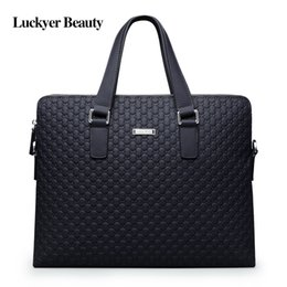 Wholesale Beauty Cow - LUCKYER BEAUTY High Quality Cow Leather Men Briefcase 2017 New Fashion Men Messenger Shoulder Bag Casual Laptop Portfolio Bags
