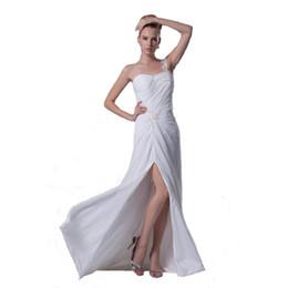 Vestido de fenda de contas brancas on-line-2017 um ombro vestido de noiva branco chiffon longo comprimento atrativo vestido de noiva de fenda com apliques de contas