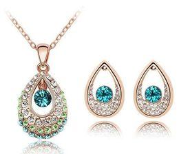 Wholesale Teardrop China - 18K Gold Silver Plated Teardrop Austrian Crystal Necklace Earrings Jewelry Set Made With Swarovski Elements Women Wedding Jewelry Sets