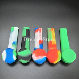 Wholesale Bent Over - Unbreakable flexible over 10 colors for chose silicone smoking tobacco hand pipe without piecemaker logo with a removable metal bowl