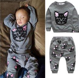 Wholesale Cats Harem Pants - 2017 Girls Childrens Clothing Sets Cartoon Cat Tops Harem Pants 2Pcs Set INS Autumn Cotton Girl Kids Boutique Clothes Enfant Outfits