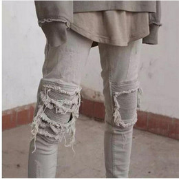 Wholesale White Skinny Jeans Long - 2016 New Fashion Hi-Street Mens Destroyed Jeans With Zippers Ripped Hip Hop Jeans With Holes On the Knee Distressed Denim Joggers