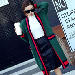 Wholesale Sweater Woman V Neck Striped - Europe autumn new dress stripe color loose long cardigan sweater jacket
