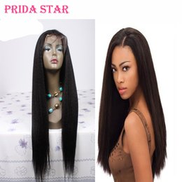 Wholesale Glueless Kinky Straight Hair - Prida Star Glueless Peruvian Kinky Straight Virgin Hair Full Lace Wig Unprocessed Lace Front Wigs With Baby Hair For Black People