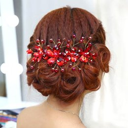 Wholesale Tiara Red Pearl Crystal - Fashion Bridal Wedding Jewelry Red Tiaras Stunning Fine Comb Bridal Jewelry Accessories Headpieces Crystal Hair Brush