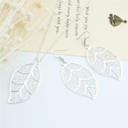 Wholesale Indian Wedding Necklace Sets - Fashion Jewelry 925 Silver Earrings & Necklace Set Hollowed-out Leaf Pendant Necklace For Women Wedding Jewelry Sets