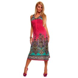 Wholesale Neon Sexy Dress - Wholesale- Fashion Women's Sexy Fashion Long Summer Casual Printed Maxi Beach Dress With Strap Neon Dress For Ladies 4153